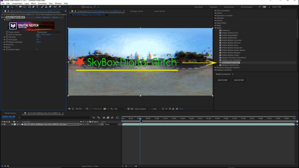 Tutorial Mettle SkyBox Digital Glitch in Adobe After Effects For 360